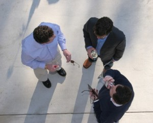 overhead meeting of three men